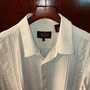 NAT NAST SZ M IVORY PINTUCKED SILK S/S CAMP SHIRT